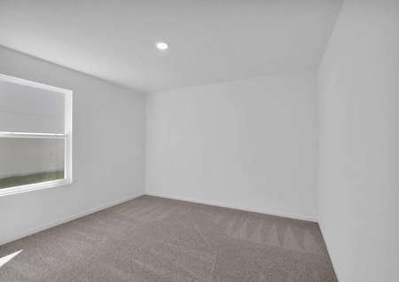 Spacious secondary bedroom with carpeted floors and a large window.