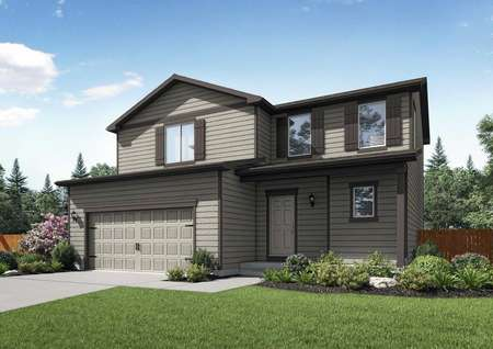 Mesa Verde two-story rendering with dark brown trim, two-car garage, and grass yard