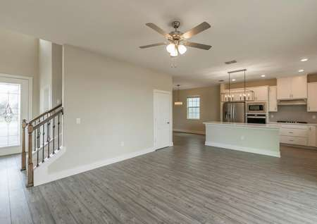 Front entrance, family room and a chef-ready kitchen make up the home's entertainment space.