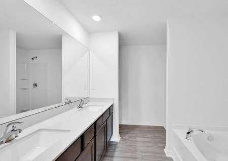 The master bathroom features double sinks, a step-in shower and a separate soaker tub.