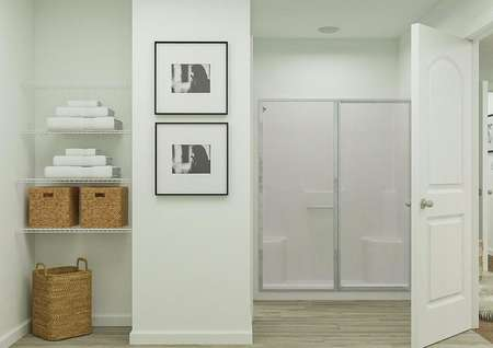 Rendering of the spacious master bath in   the Eustis focused on the shower and linen storage.