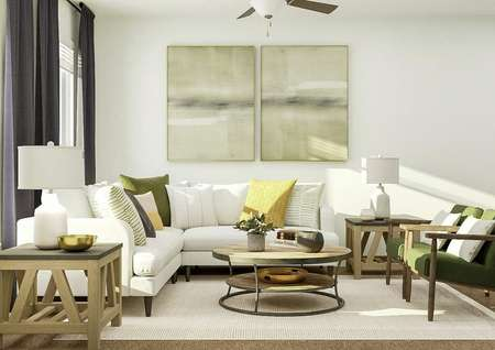 Rendering of the living room furnished   with a white sectional, coffee table, two side tables and two armchairs.