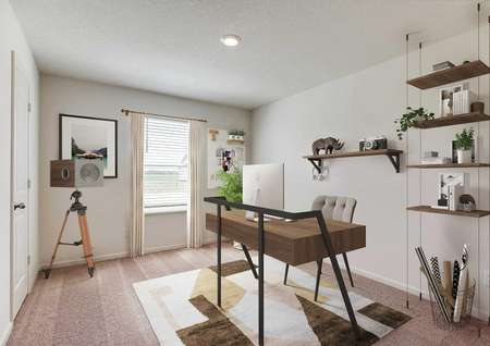 Staged home office in bedroom with carpet and one window, desk and floating suspended shelving unit.