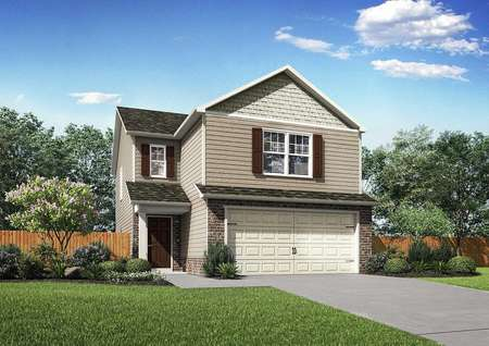 Charleston new home rendering with two living levels, landscaped front yard, and multi-color finished exterior