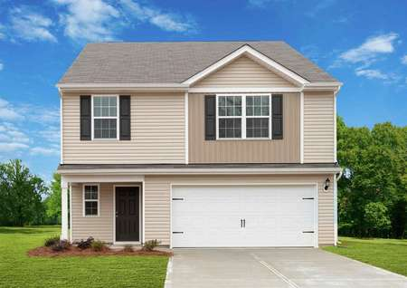 Fripp new home plan with two stories, white two-car garage, and lush landscaped yard