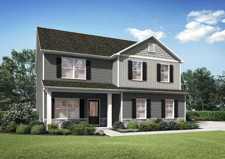 Hawthorn two-story house plan with two-tone paint finish, lush green lawn, and white trim