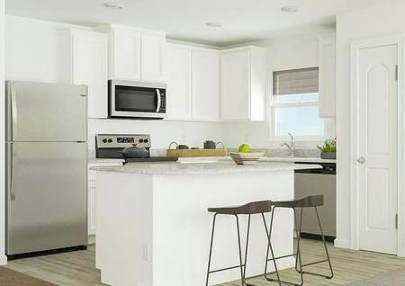 Rendering of kitchen area with barstool   seating and white finishes.