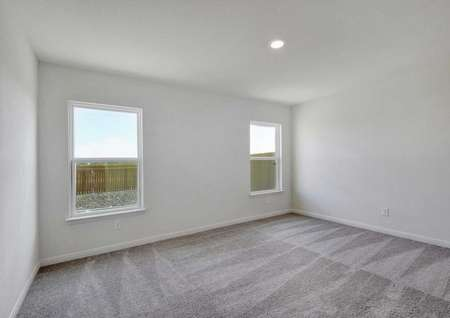 Pecan master bedroom with two large side house view windows, can light, and tan carpeting