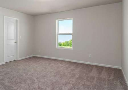 Madison bedroom with white on grey walls, tan color carpets, and window