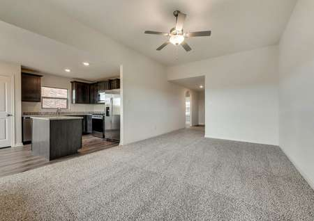The kitchen is open to the family room in this popular plan.