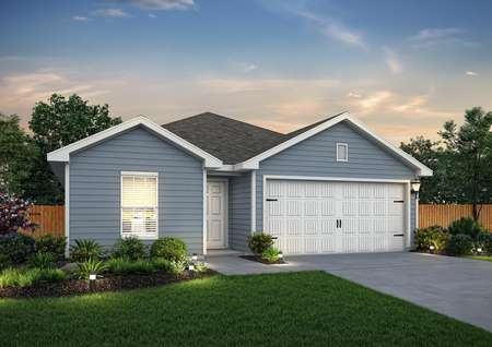 Dusk rendering of the Trinity, built with gray/blue siding
