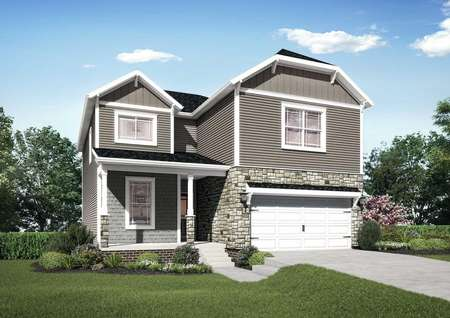 The Mid Atlantic Waverly rendering of a two story home with attached garage.