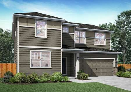 Artist rendering of the Pearl in gray siding with accent stone, white trim, 2-car fron garage, one window on main floor and four windows upstairs along front facade of home.