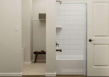 Rendering of the master bath focused on a   brown cabinet vanity flanked by a white toilet and linen closet.