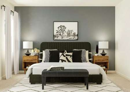 Rendering of the spacious master bedroom   featuring a window and mirror on the left wall. A black fabric bed is against   a gray accent wall and flanked by wood nightstands with black lamps.