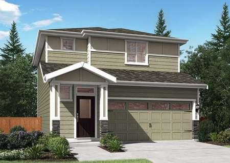 Mason floor plan model home with greenish painted exterior and white trim around the home.