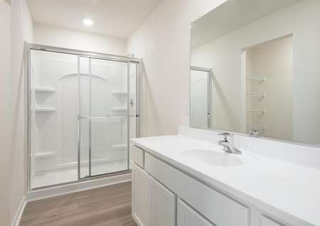 Master bathroom with long vanity, one sink, glass enclosed step-in shower.