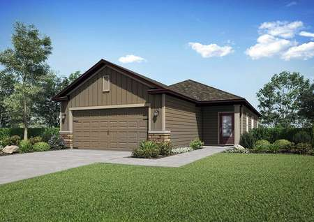 The exterior of theAlafia floor plan model home with a decorative two-car garage and a lush green grass yard.