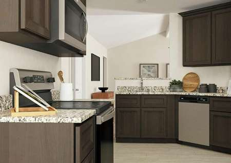 Rendering of the kitchen with light   flooring, dark wood cabinetry, granite counters and stainless steel   appliances.