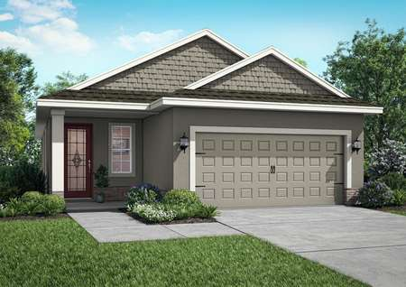 One-story retreat featuring beautiful front yard landscaping, a two-car garage and a covered front patio.