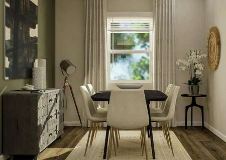 Rendering of the dining room with a   window, wood style flooring covered by a light-colored rug, dark green accent   wall and a black table with six white dining chairs.