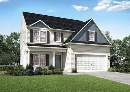 Hartford exterior elevation with two floors, white carriage style garage, and two-tone siding