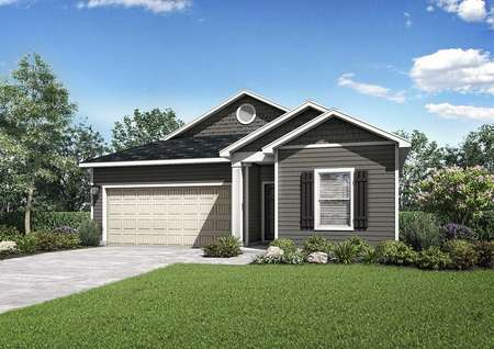 A beautiful rendering of the Clairborne model house featuring grey siding with white trim and shutters, including cream colored 2 car garage