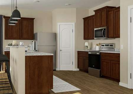 Rendering of the kitchen with brown   cabinetry, granite counters, stainless steel appliances