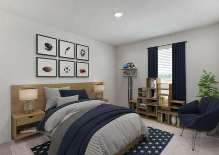 Staged boy's bedroom with carpet, blue and gray decor, singlewindow in center of wall with navy drapes..jpg