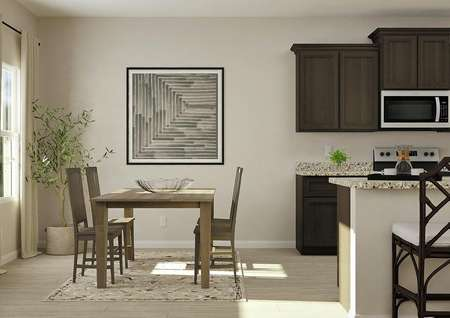 Rendering of dining area with light   wood-look flooring, rug, wooden dining table and kitchen with brown cabinets   to the right