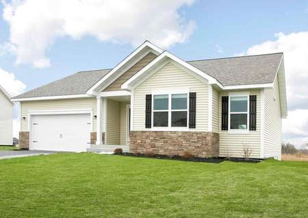 Pennington single story home with brown shutters, stone accent wall, and green grass yard