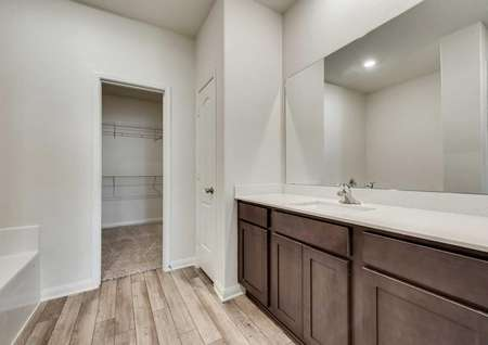 Cypress bathroom with large vanity, wood tile floors, and access to walk-in closet