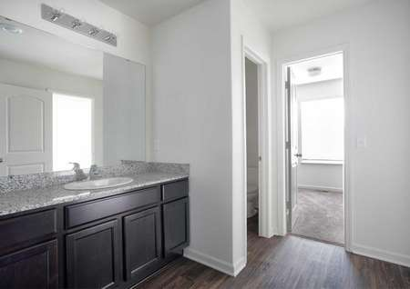 Hennepin bathroom with gray granite counters, brown cabinet, and large mirror vanity