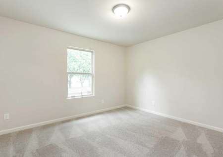 Charleston bedroom with large window, overhead light, and lightly colored carpeting