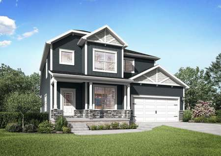 The Mid-Atlantic Newport rendering of two story home with attached garage and covered porch.