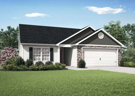 3 bedroom Alamance floor plan with stone detailing.