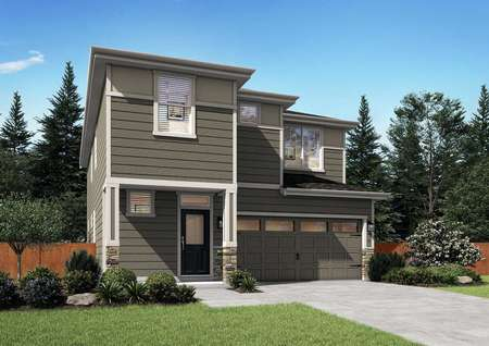 Brown coloredJuniper floor plan with white trim around the garage and windows along with a green front door.