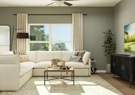 Rendering of living area with large   window and beige curtains.