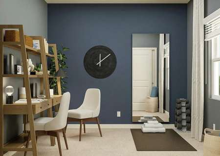 Rendering of a secondary bedroom with a   window, carpeted flooring and blue walls. The room is furnished with two   desks, a large clock, mirror, dumbbells and a workout mat.