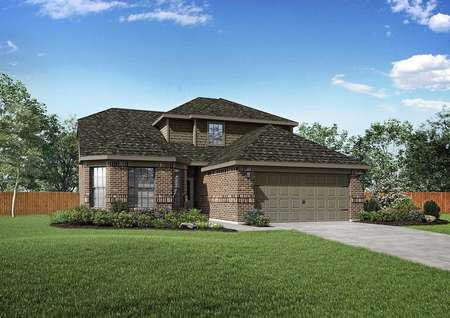 Huron single-story new home rendering with green lawn, two-car garage, and detailed stone work