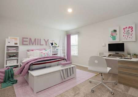 Decorated girl's bedroom with full size bed, window, desk with computer.