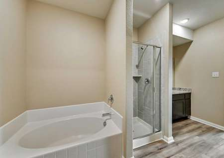 Master bath with soaker tub, glass enclosed shower and luxury vinyl plank flooring.