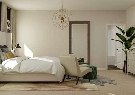 Rendering of the spacious master suite   showing the bed, accent chairs, dresser and a mirror. The attached bath is   visible through the open doorway.