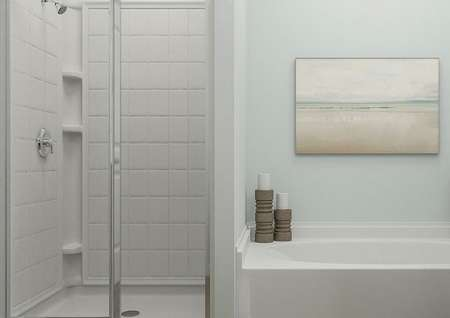 Rendering of the   master bathroom with a spacious shower and separate tub decorated with   candles.