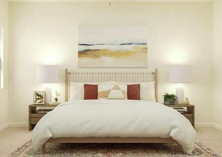 Rendering of the spacious master bedroom   focused on the large bed, which has nightstands on either side and a large   piece of abstract beach art above it. A window is visible on the left wall.