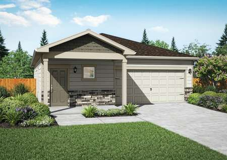 Exterior rendering of the Arkansas plan with tan siding and stone detailing