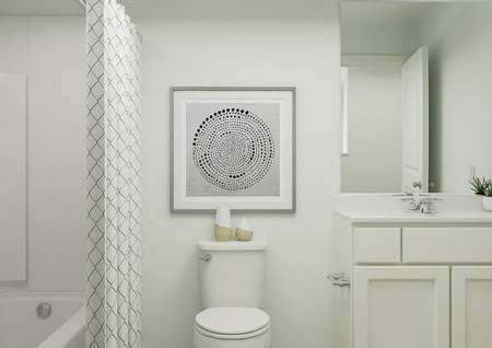 Rendering of a full bath with white   cabinet vanity, toilet and shower with a diamond-patterned curtain.