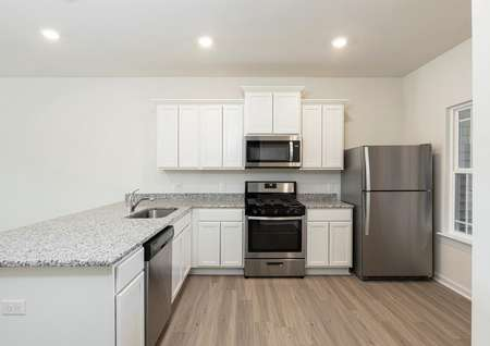 Direct view of kitchen with stainless range, built-in microwave, refrigerator, plank flooring, single basin undermount sink.
