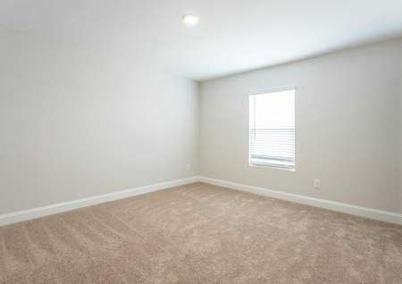 Hartford bedroom with window, white trim, and brown carpeting