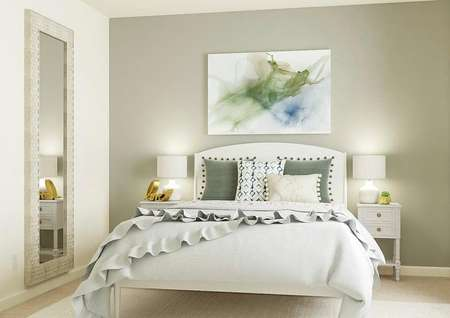 Rendering of a   secondary bedroom with a window decorated with a light gray accent wall,   white bed, two white nightstands, a large mirror and white rug.